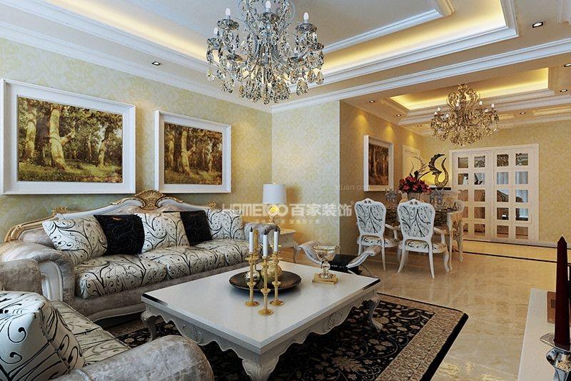 三居室混搭风格客厅沙发背景墙