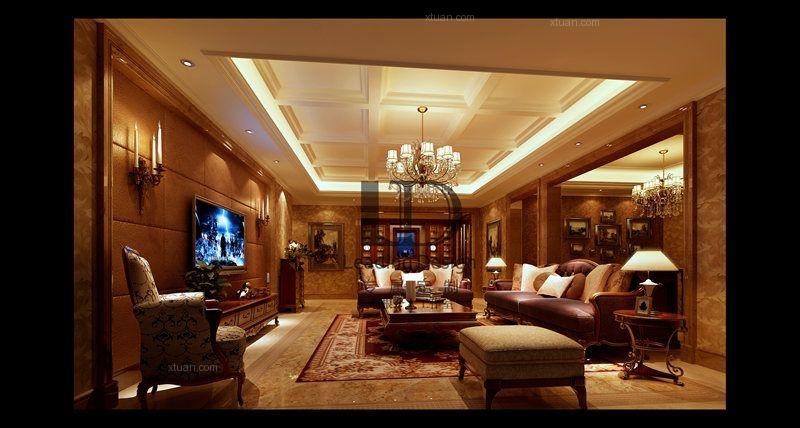 跃层美式风格客厅电视背景墙