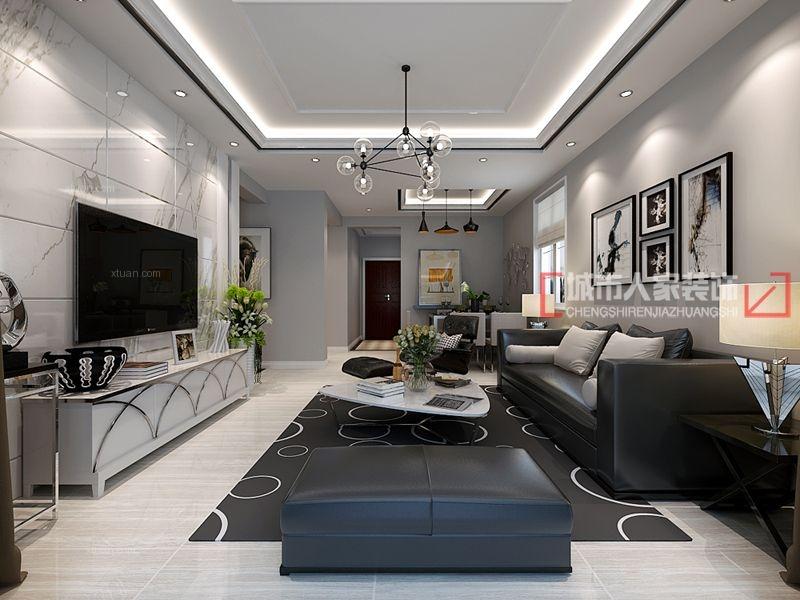 三室两厅现代风格客厅_绵阳116现代黑白灰装修效果图