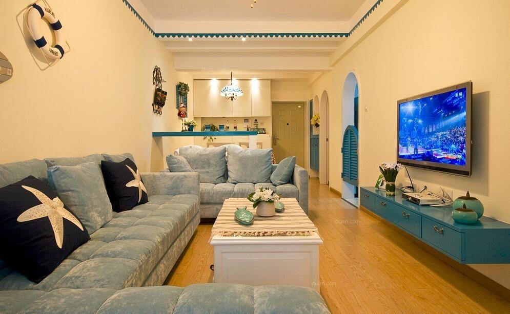 两居室地中海风格客厅电视背景墙