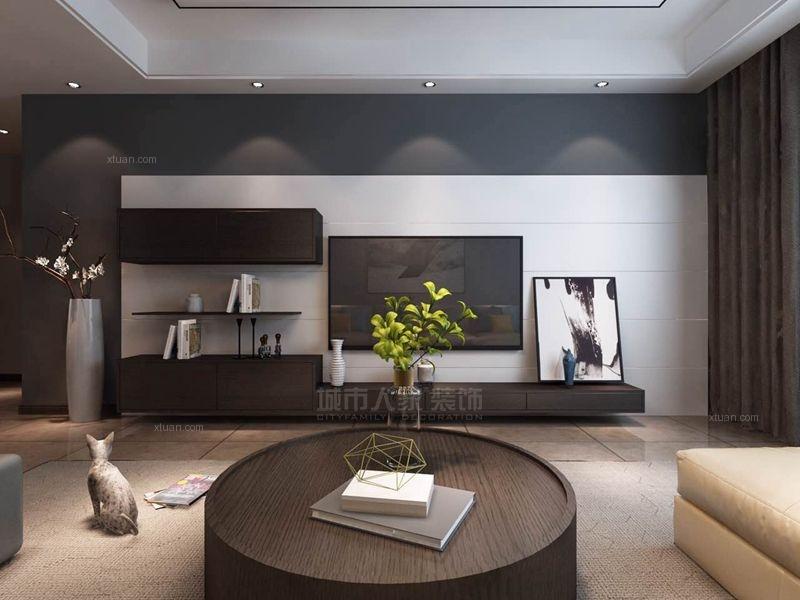 四居室时尚风格客厅电视背景墙图片