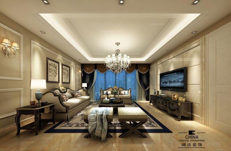 大户型欧式风格客厅_国宾一号195平欧式装修效果图