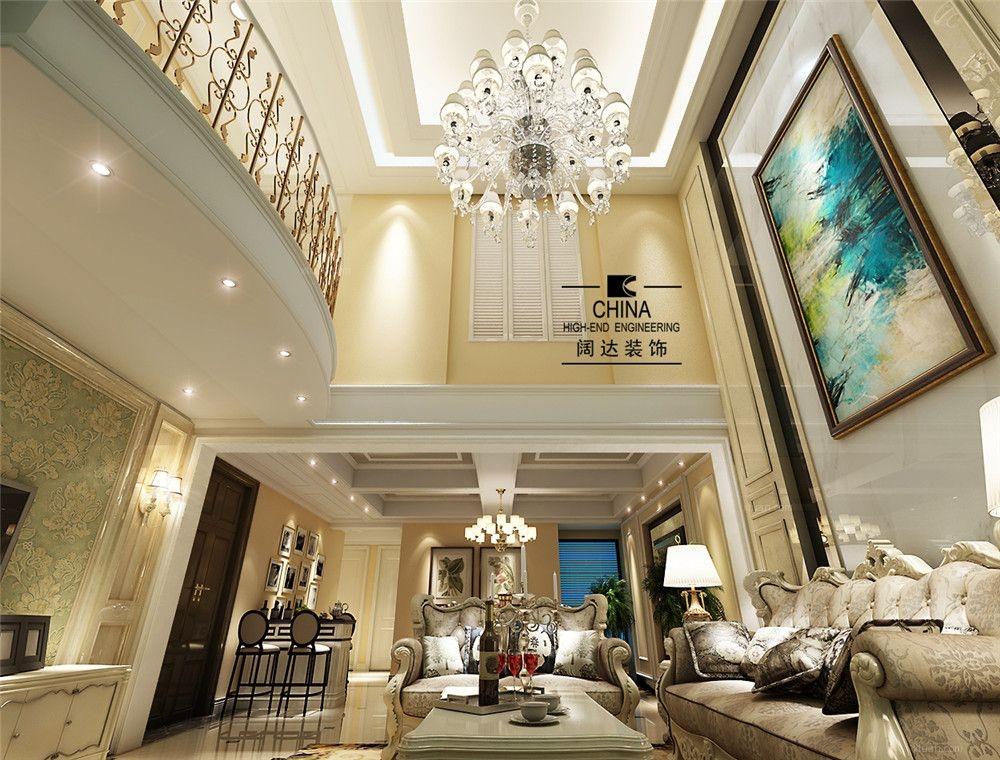 复式楼欧式风格客厅_典雅花园 200平欧式装修效果图