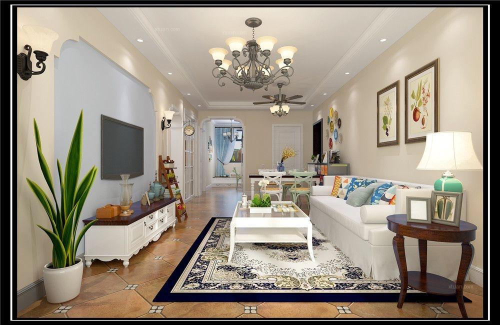 三室两厅美式风格客厅_橡树湾实景图简美风格装修效果图片