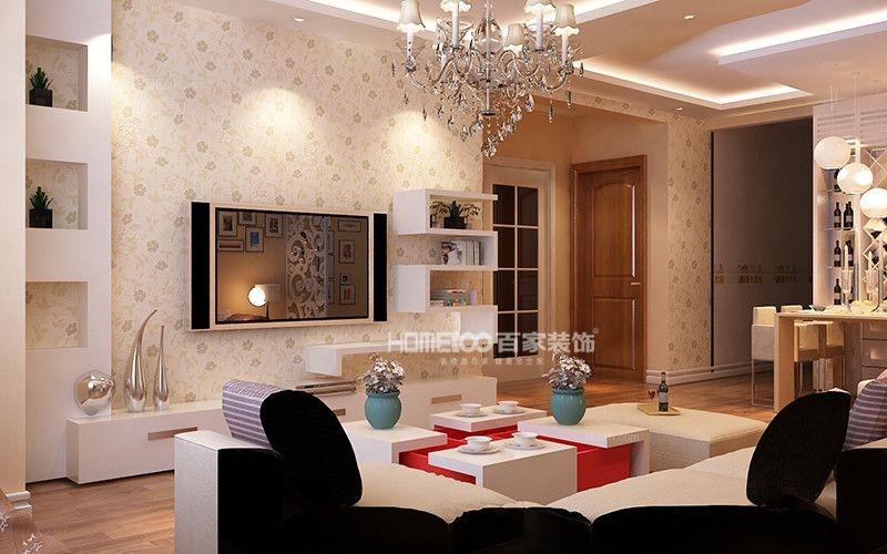 两居室美式风格客厅电视背景墙