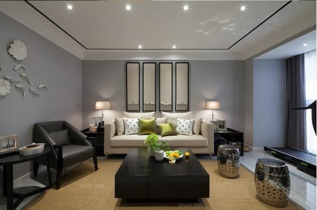 三室一厅现代简约客厅沙发背景墙
