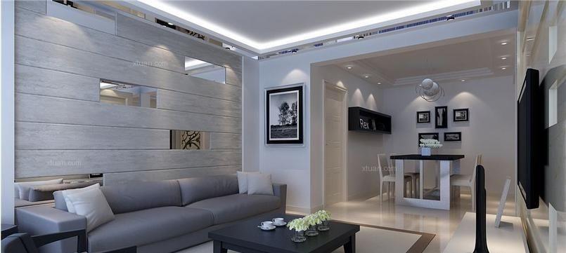 三室一厅现代风格客厅沙发背景墙