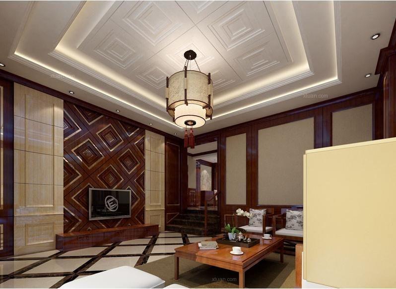 独栋别墅混搭风格客厅电视背景墙