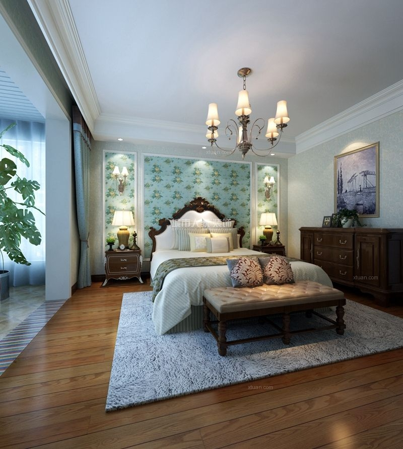 四居室美式风格客厅卧室背景墙图片