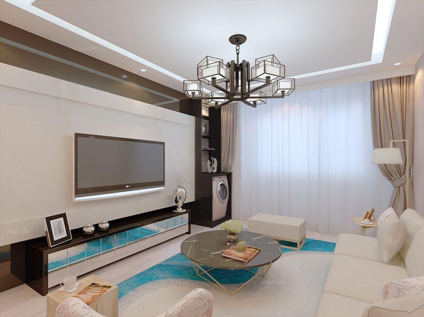 大户型客厅电视背景墙_天宇生态家园大户型装修效果图