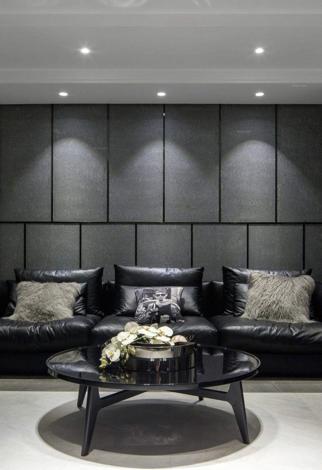 三居室现代风格客厅电视背景墙_现代灰色系----不同带
