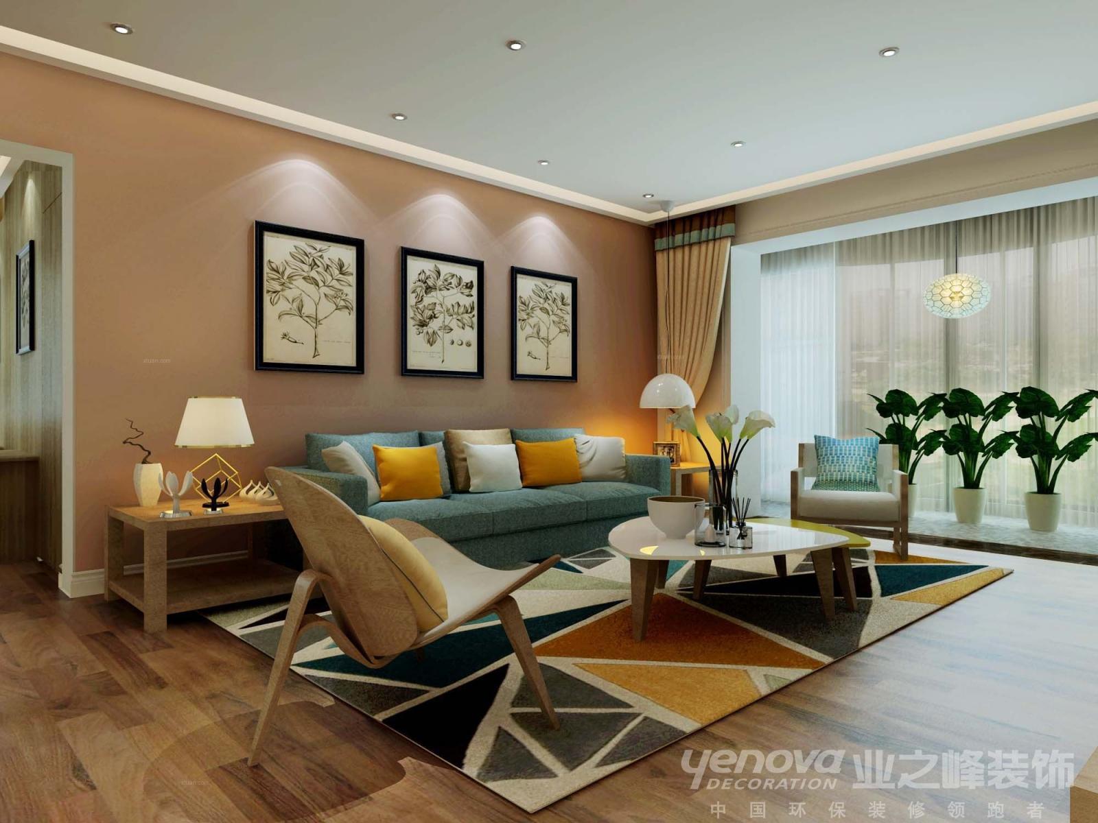 三居室北欧风格客厅沙发背景墙图片