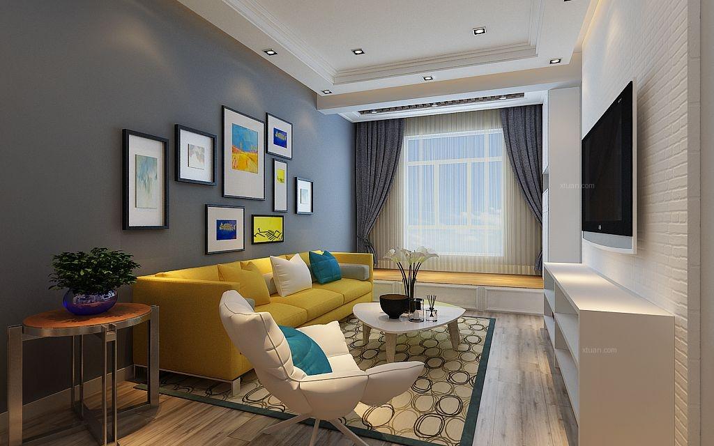 一室一厅现代简约客厅_东方新天地装修效果图