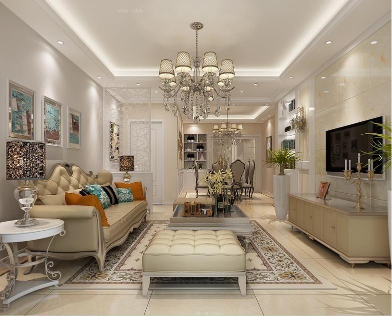 三室一厅简欧风格客厅_御华园三室一厅装修效果图