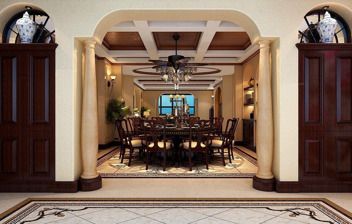 复式楼美式风格餐厅_内森庄园欧式0551-65196123装修