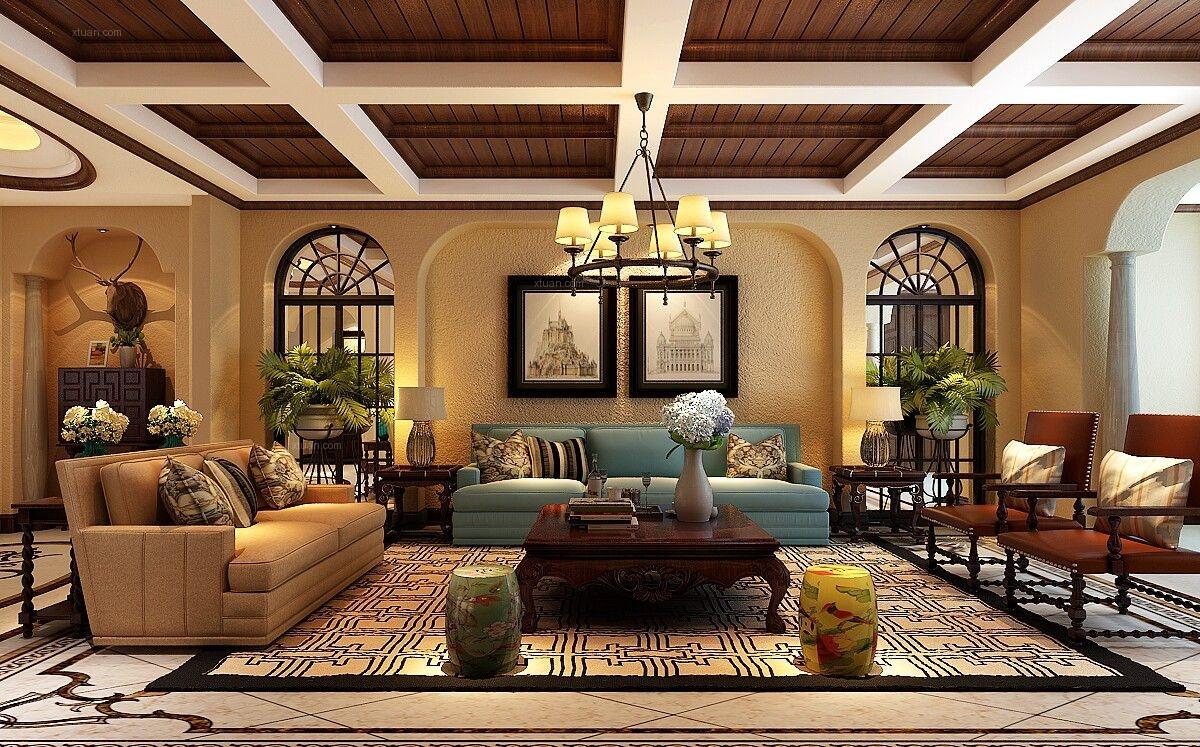 复式楼美式风格客厅_内森庄园欧式0551-65196123装修