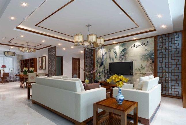 三居室新古典客厅电视背景墙