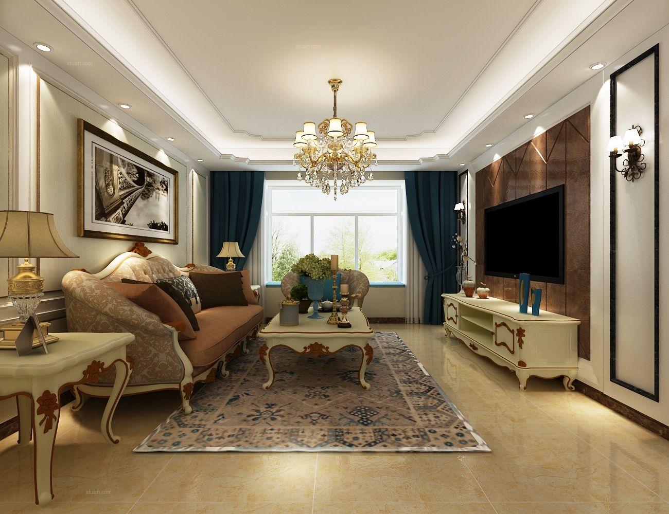 三居室欧式风格客厅影视墙图片