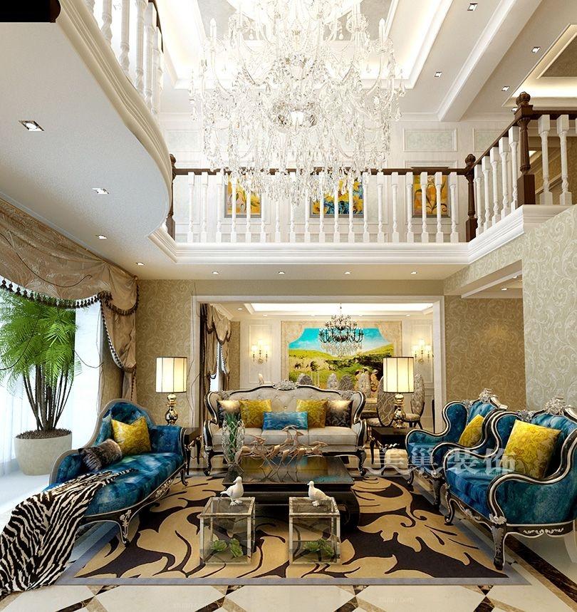 复式楼古典风格休闲区沙发背景墙图片