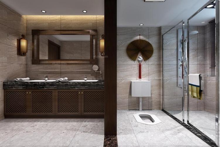 别墅中式风格洗手间_自建别墅装修效果图图片