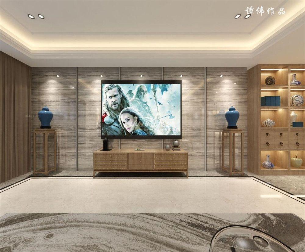 别墅中式风格休闲区电视背景墙