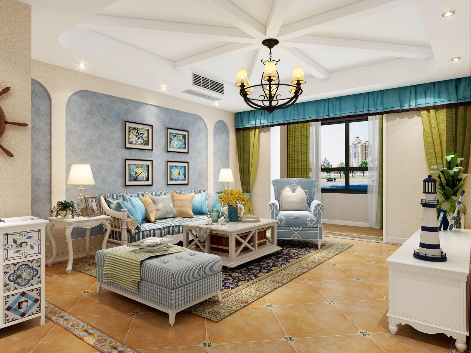 三居室地中海风格客厅软装