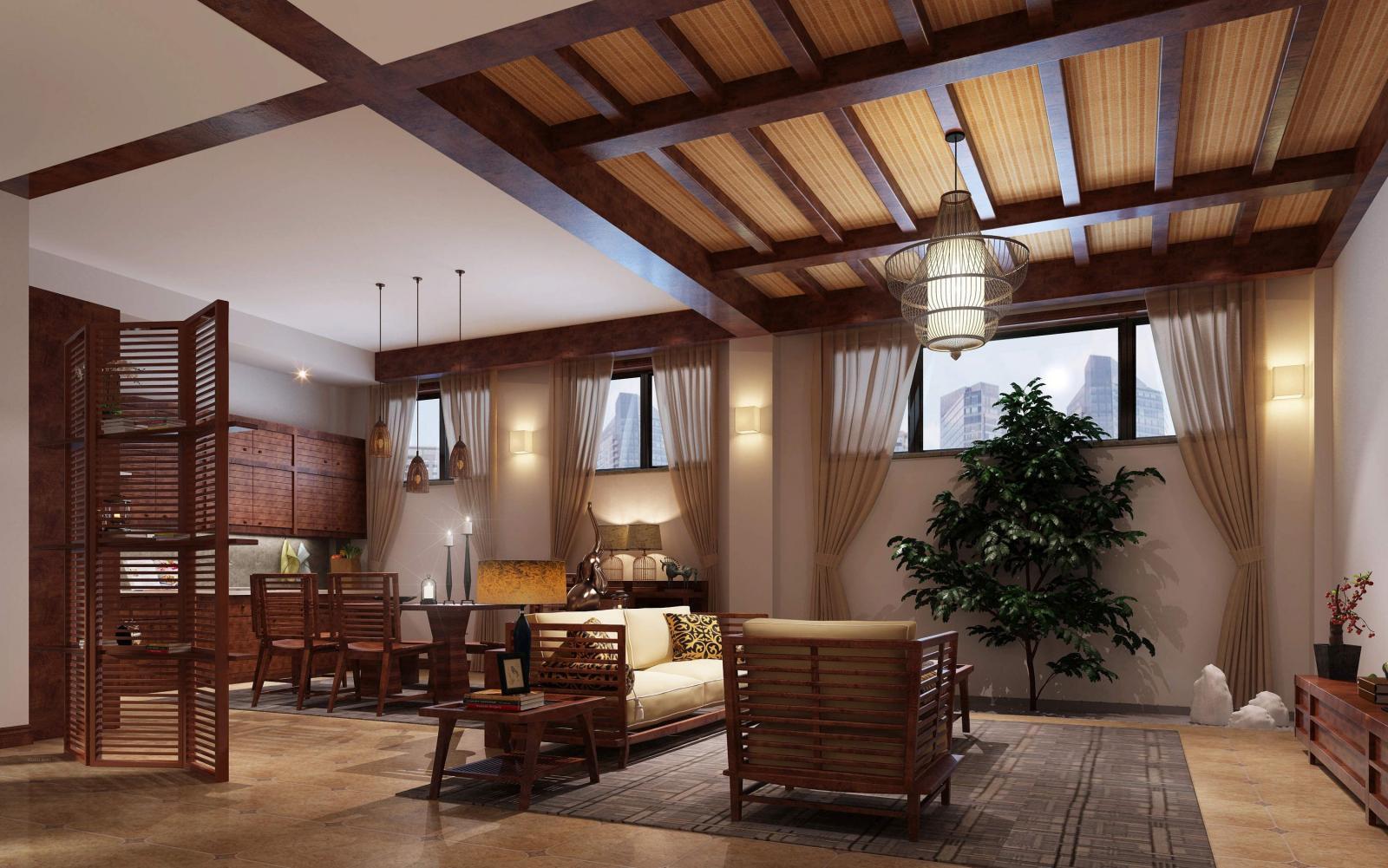 复式楼东南亚风格客厅_私享生活装修效果图图片