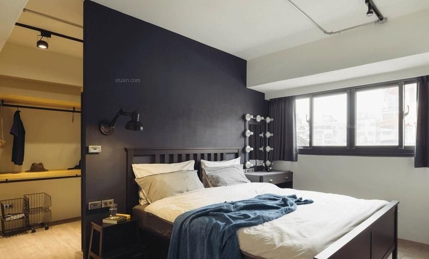 两居室混搭风格主卧室卧室背景墙
