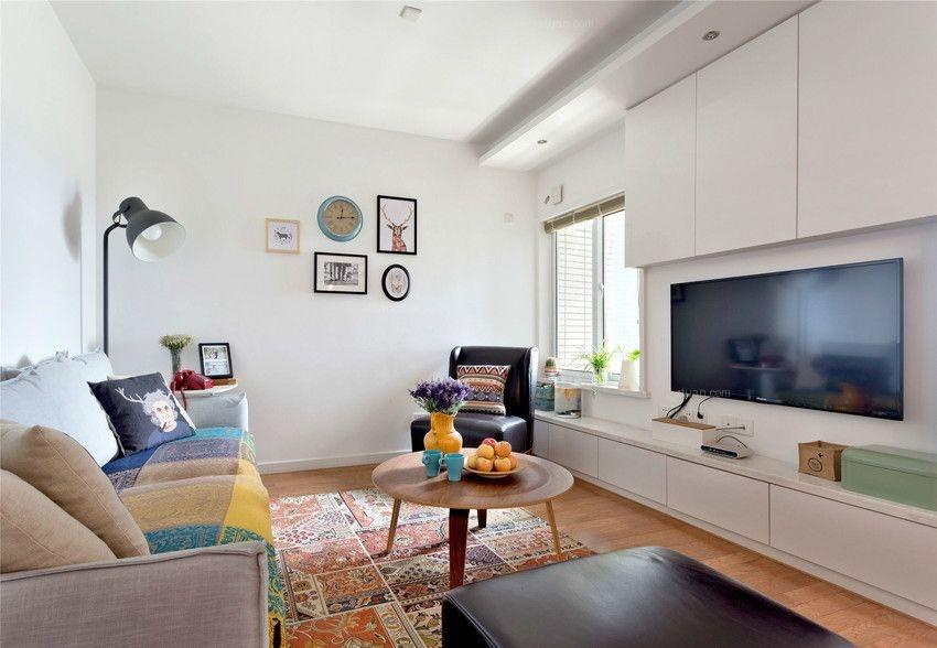 两居室北欧风格客厅沙发背景墙