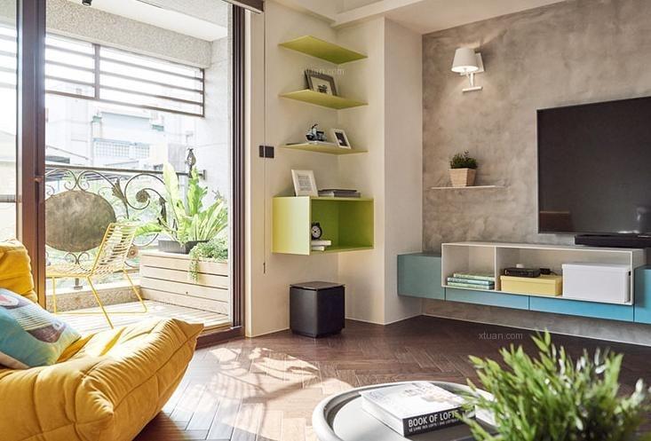 三居室混搭风格客厅电视背景墙