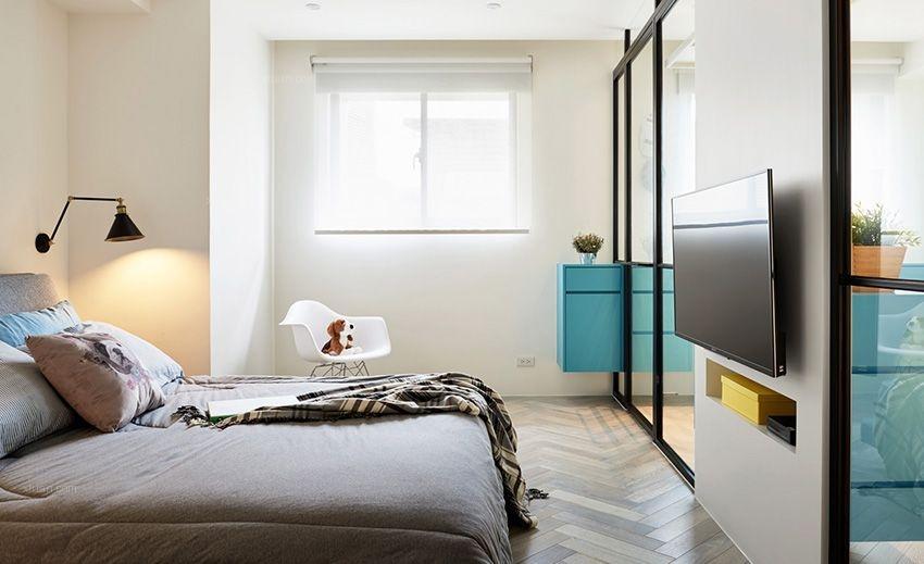 三居室混搭风格卧室卧室背景墙