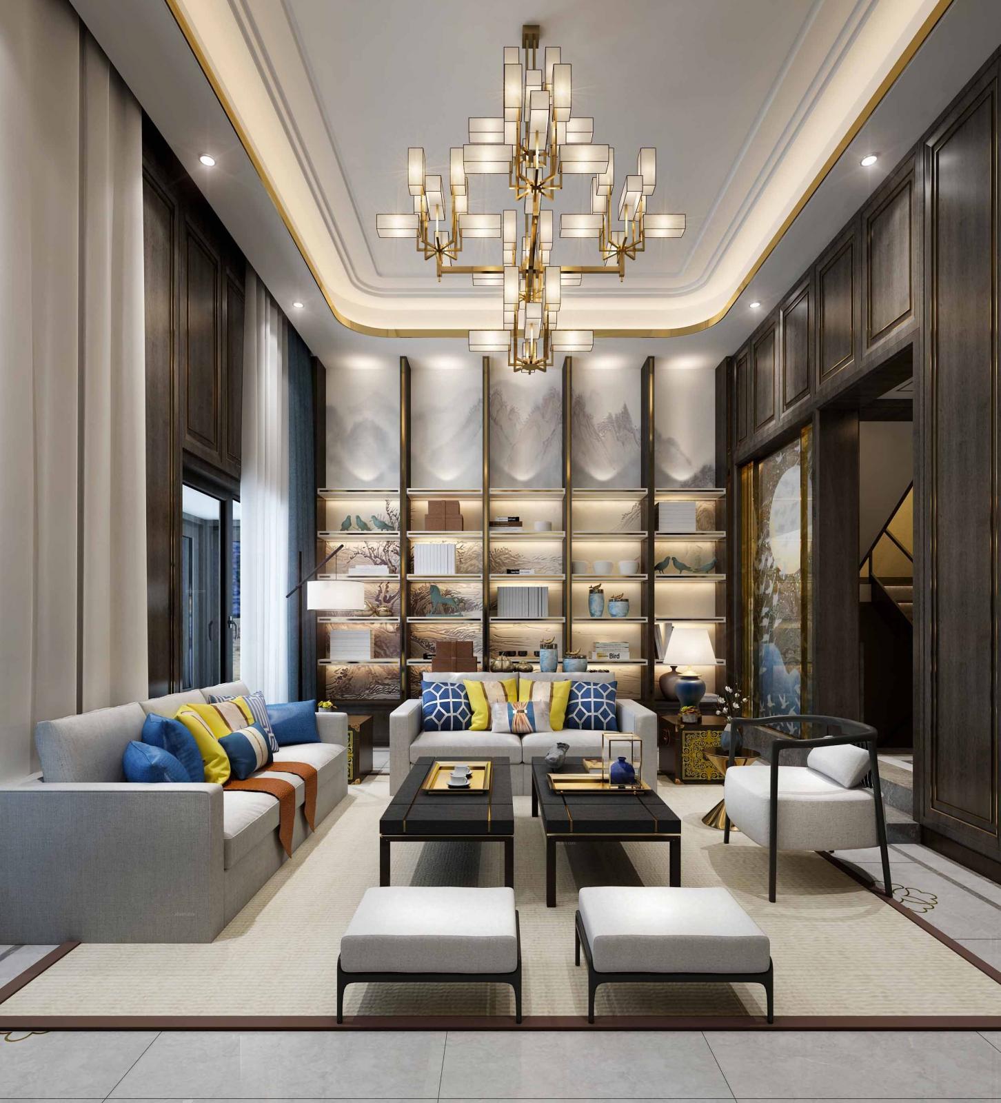 新弘国际城别墅新中式设计装修效果图