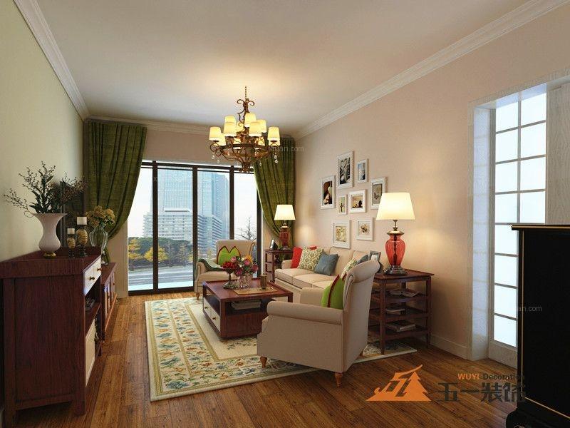 两居室美式风格客厅沙发背景墙