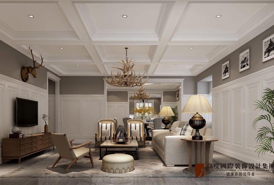 别墅美式风格客厅沙发背景墙