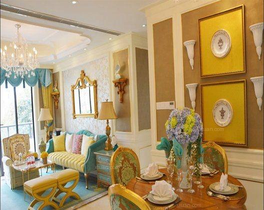 三室两厅混搭风格客厅沙发背景墙