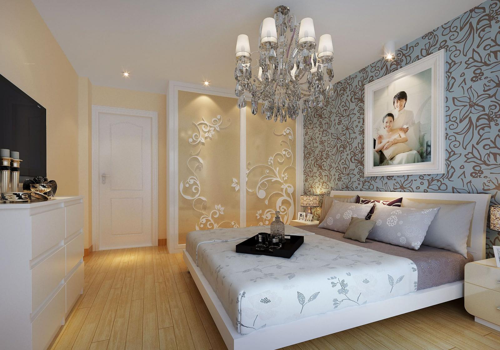 两室两厅简欧风格卧室_大富绿洲装修效果图图片