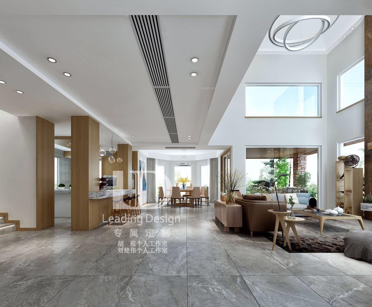 重庆棕榈泉独栋别墅装修,400平北欧风格装修案例效果