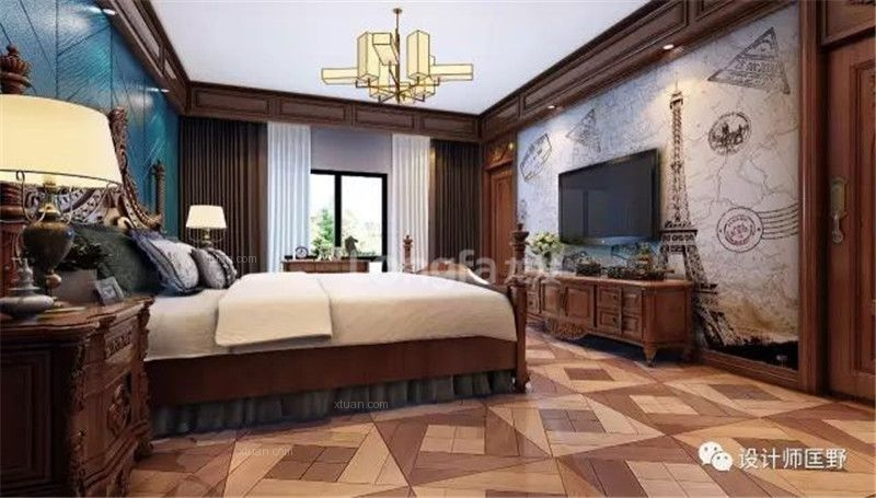 别墅美式风格卧室卧室背景墙