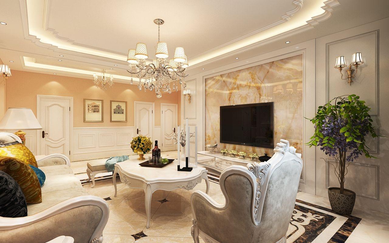 三居室简欧风格客厅_巴黎广场 120平米装修效果图