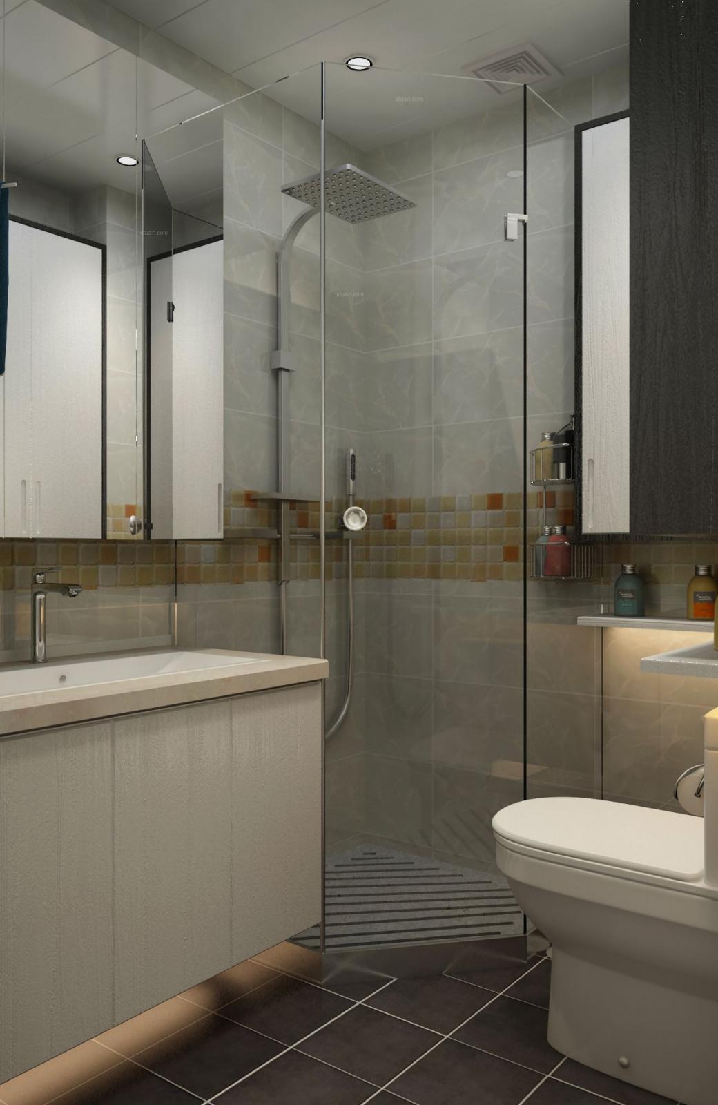 三居室现代简约卫生间软装
