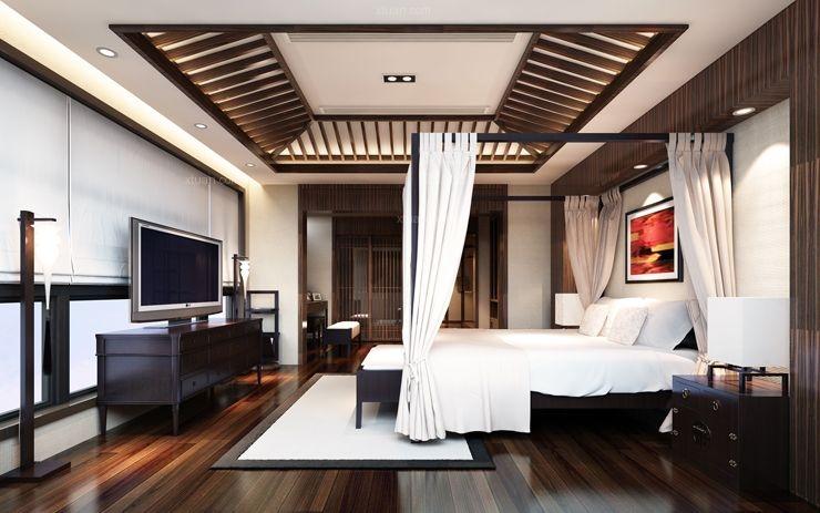 复式楼中式风格卧室软装
