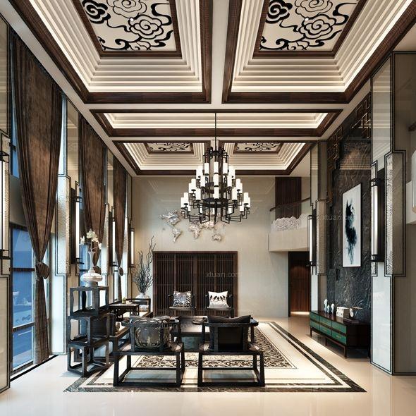 复式楼中式风格客厅墙绘_东湖品臻新中式装修效果图图片