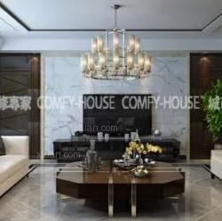 淄博城市人家装饰设计:齐悦国际180平简奢风格案例