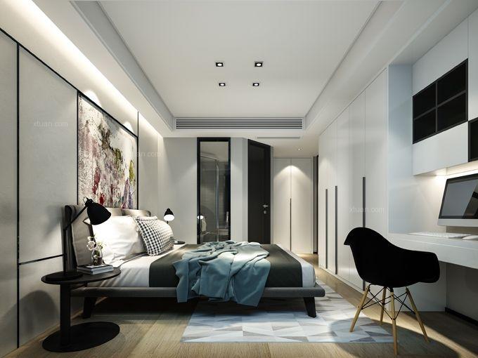 两居室现代风格卧室卧室背景墙