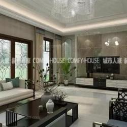 淄博城市人家装饰绿城百合玫瑰园260㎡新中式风格装修案例