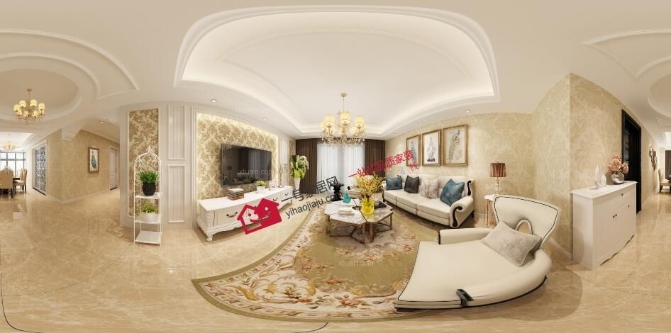 三室两厅简欧风格客厅沙发背景墙