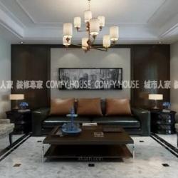 淄博城市人家装饰设计:绿城百合167㎡美式风格案例