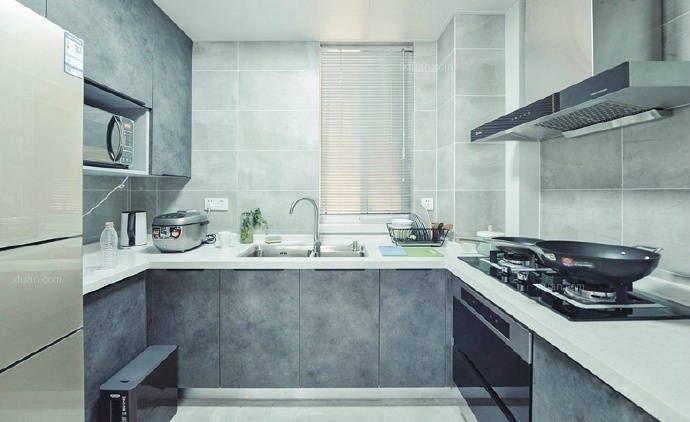 四居室现代简约厨房_简约现代风格装修效果图