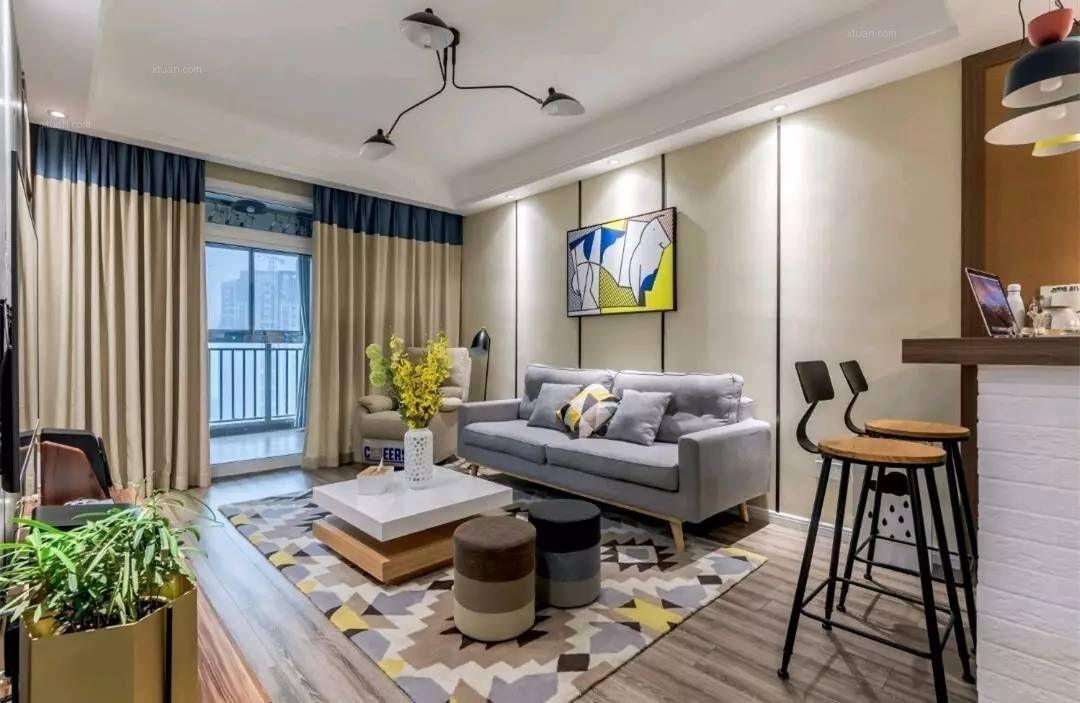 两居室北欧风格客厅_大家新城装修效果图图片
