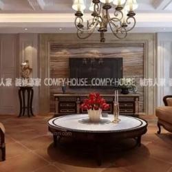 淄博最好的装修公司龙泰国际260㎡美式风格设计案例
